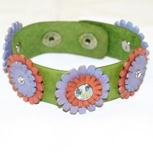 Handcrafted Leather Flower Bracelet